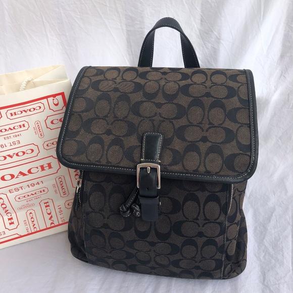 6ca50bc40d19e COACH Handbags - COACH SIGNATURE BLACK/BROWN BACKPACK SHOULDER BAG
